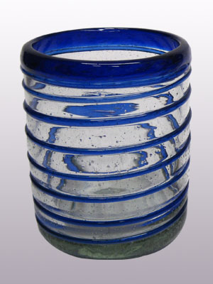 COLORED RIM GLASSWARE / 'Cobalt Blue Spiral' tumblers (set of 6)